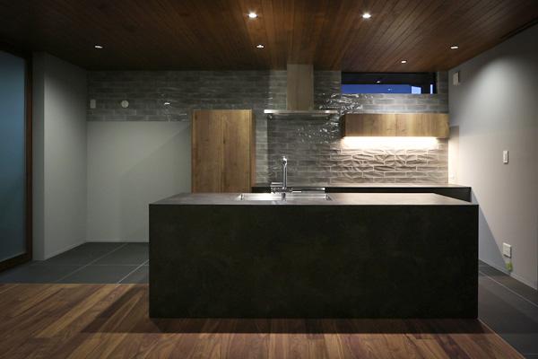新築 オーダーキッチン キッチンハウス グレーを基調 シックでモダン